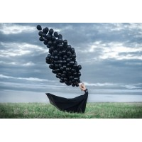 100 шт черных воздушных шаров