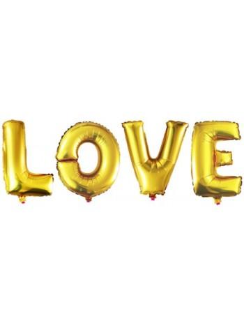 Шары (40''/102 см) Буквы, LOVE, Золото, 4 шт.