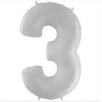 Шар цифра белая 3 с гелием