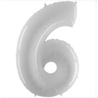 Шар цифра белая 6 с гелием