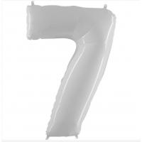 Шар цифра белая 7 с гелием