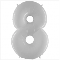 Шар цифра белая 8 с гелием