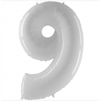 Шар цифра белая 9 с гелием