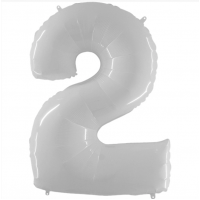 Шар цифра белая 2 с гелием