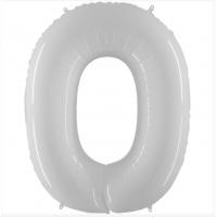 Шар цифра белая 0 с гелием