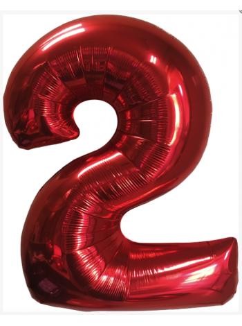 Красная Цифра 2 с гелием