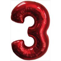 Красная шар Цифра с гелием 3/91 см