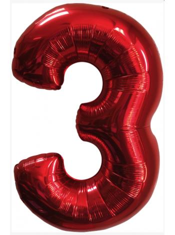 Красная Цифра Три с гелием