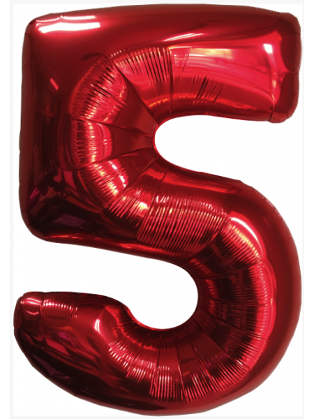 Красная шар Цифра 5/91 см с гелием
