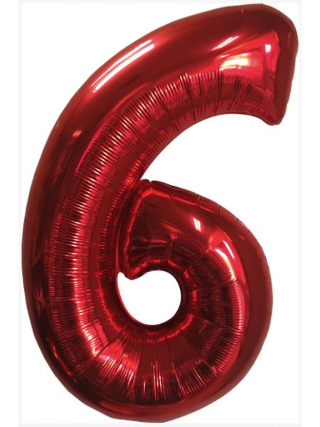 Красная шар Цифра 6/91 см с гелием