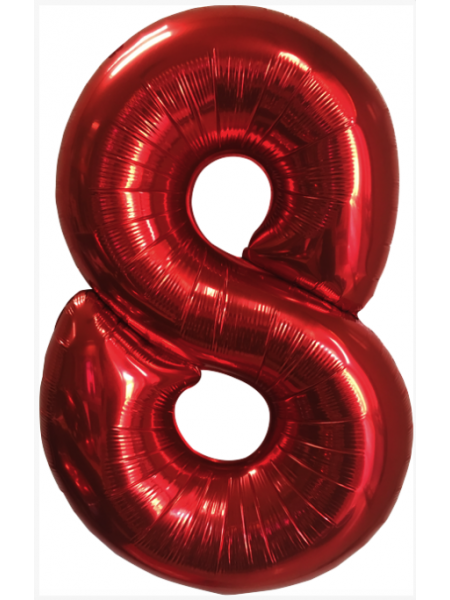 Красная шар Цифра 8/91 см с гелием