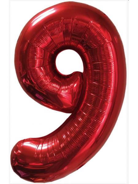 Красная шар Цифра 9/91 см с гелием
