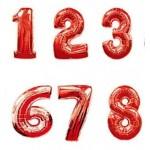 Фольгированные Красные шары Цифры на День Рождения
