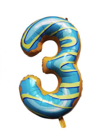 Шар цифра пончик три