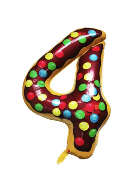 Шар цифра пончик 4 с гелием
