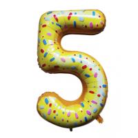 Шар цифра пончик 5 с гелием