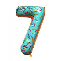 Шар цифра пончик 7 с гелием