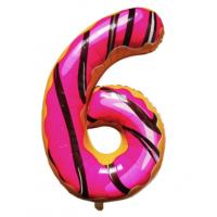 Шар цифра пончик 6 с гелием
