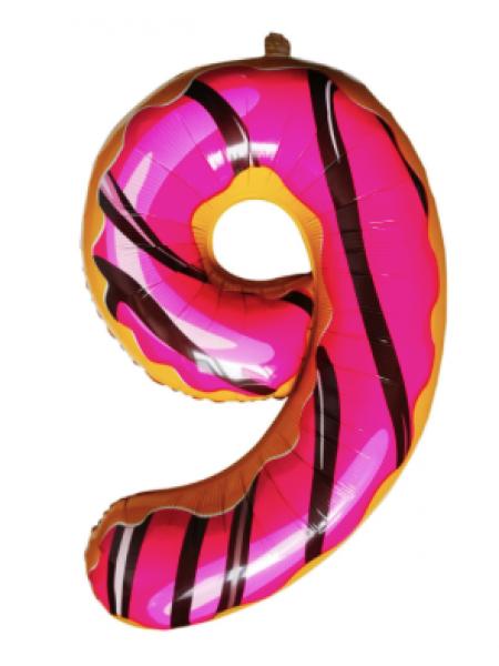 Шар цифра пончик 9 с гелием