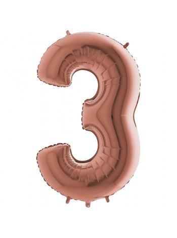 Цифра Три с гелием Розовое золото