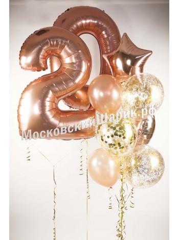 Набор шаров 20 Розовое Золото
