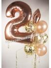 Набор воздушных шаров розовое золото