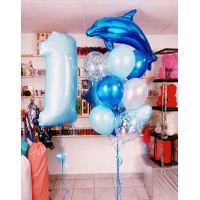 Набор шаров с дельфином и цифрой