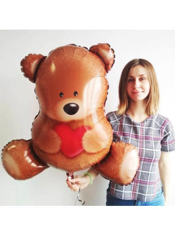 """Воздушный шарик """"Плюшевый Мишка с сердцем"""""""