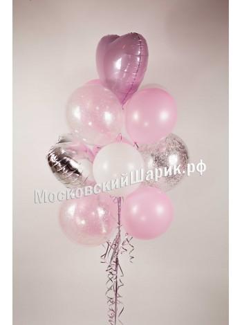 Фонтан из шаров нежно-розовый