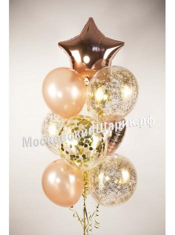 Фонтан из шаров Розовое золото