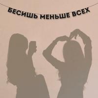 """Гирлянда """"БЕСИШЬ МЕНЬШЕ ВСЕХ"""" 1 шт"""
