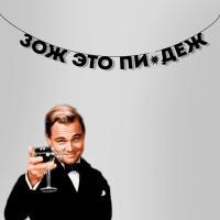 """Гирлянда """"ЗОЖ ЭТО ПИ*ДЕЖ"""" 1 шт"""