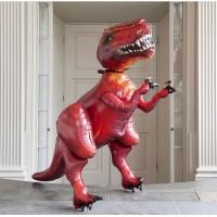 Ходячая фигура Динозавр красный с гелием