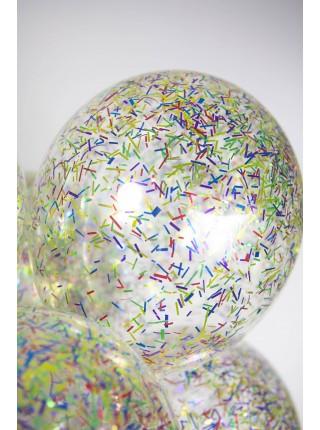Прозрачные с разноцветным мелким конфетти 30 см