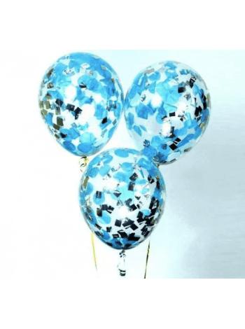 Прозрачный Шарик с голубым и серебряным конфетти