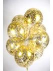 Золотой шарик с гелием и конфетти