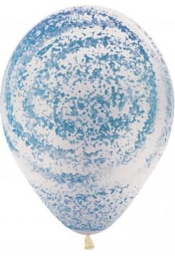 Шар с конфетти напылением голубой с гелием 1 шт