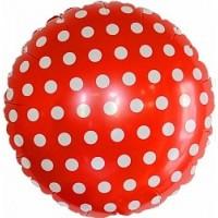 Красный круг в горошек с гелием 1 шт