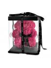 Розовый медведь из роз 20 см