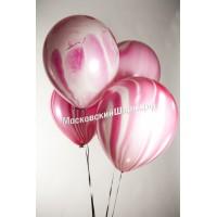 Мраморный воздушный Шар с гелием  (12''/30 см) Розовый, агат - 1 Штука