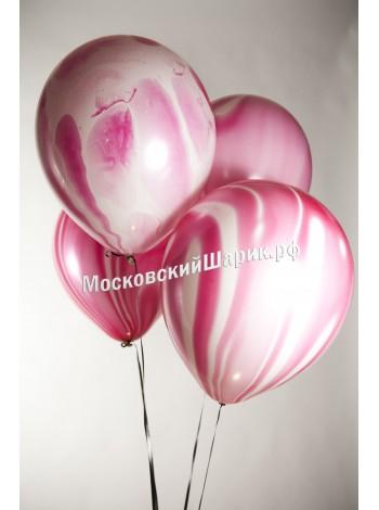 Мраморный воздушный Шар с гелием розовый агат