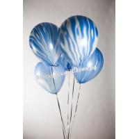 Мраморный воздушный Шар с гелием (12''/30 см) Синий, агат - 1 Штука