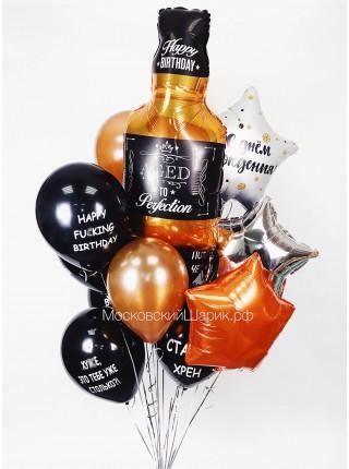 Букет с бутылкой № 14