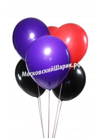 Шары Фиолетово-Красно-Черные Пастель 35 см