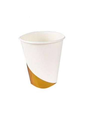 """Бумажные стаканы """"Белые с золотом"""""""
