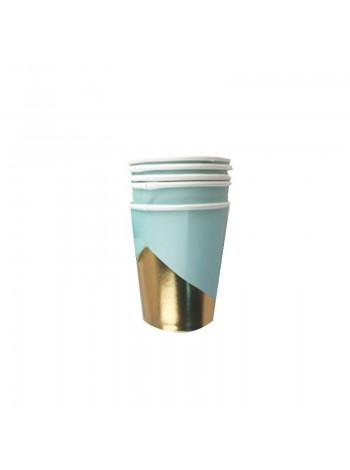 """Бумажные стаканы """"Мятные с золотом"""""""