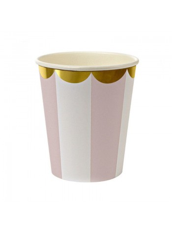 """Бумажные стаканы """"Розовые с золотом"""""""