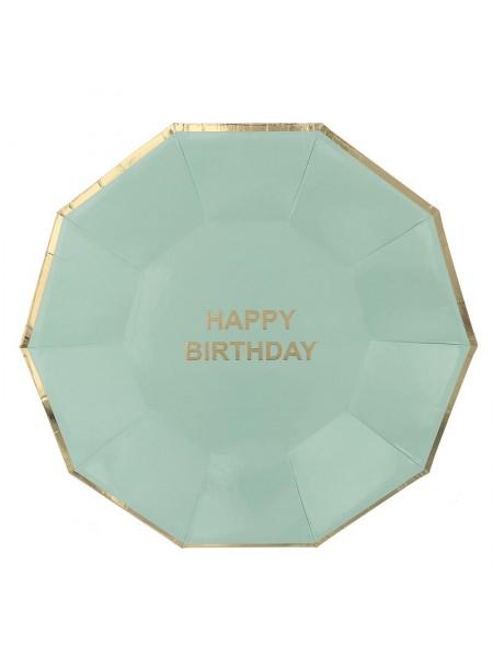 """Тарелки мятные """"Happy Birthday"""" 6 шт"""