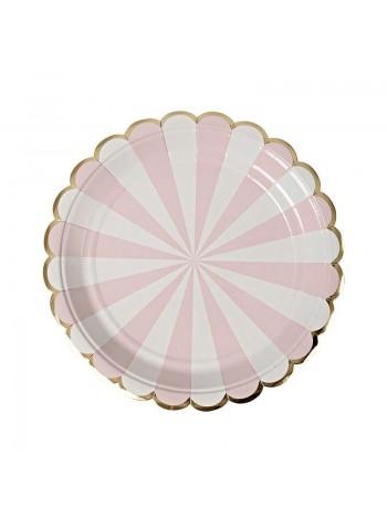 """Бумажные тарелки """"Розовые в полоску"""""""