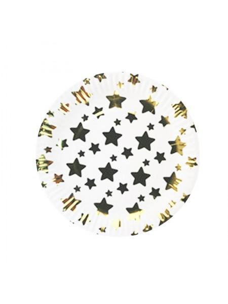 """Тарелки """"Большие золотые звезды"""" 6 шт"""